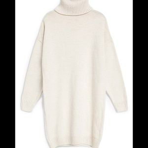 Topshop Cream Turtleneck Sweater Dress